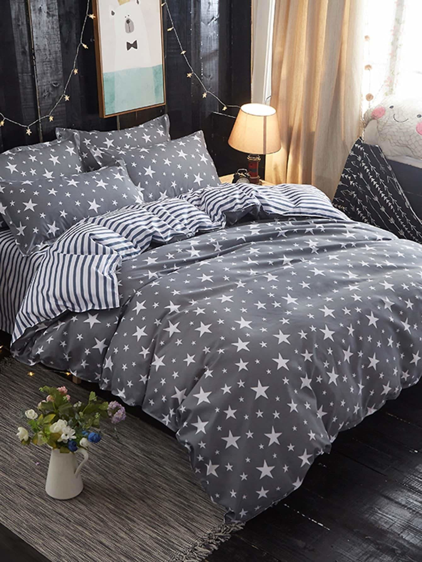 Star Print Duvet Cover & Sheet & Sham Set