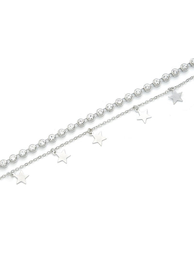 Star & Rhinestone Layered Chain Necklace - Necklaces
