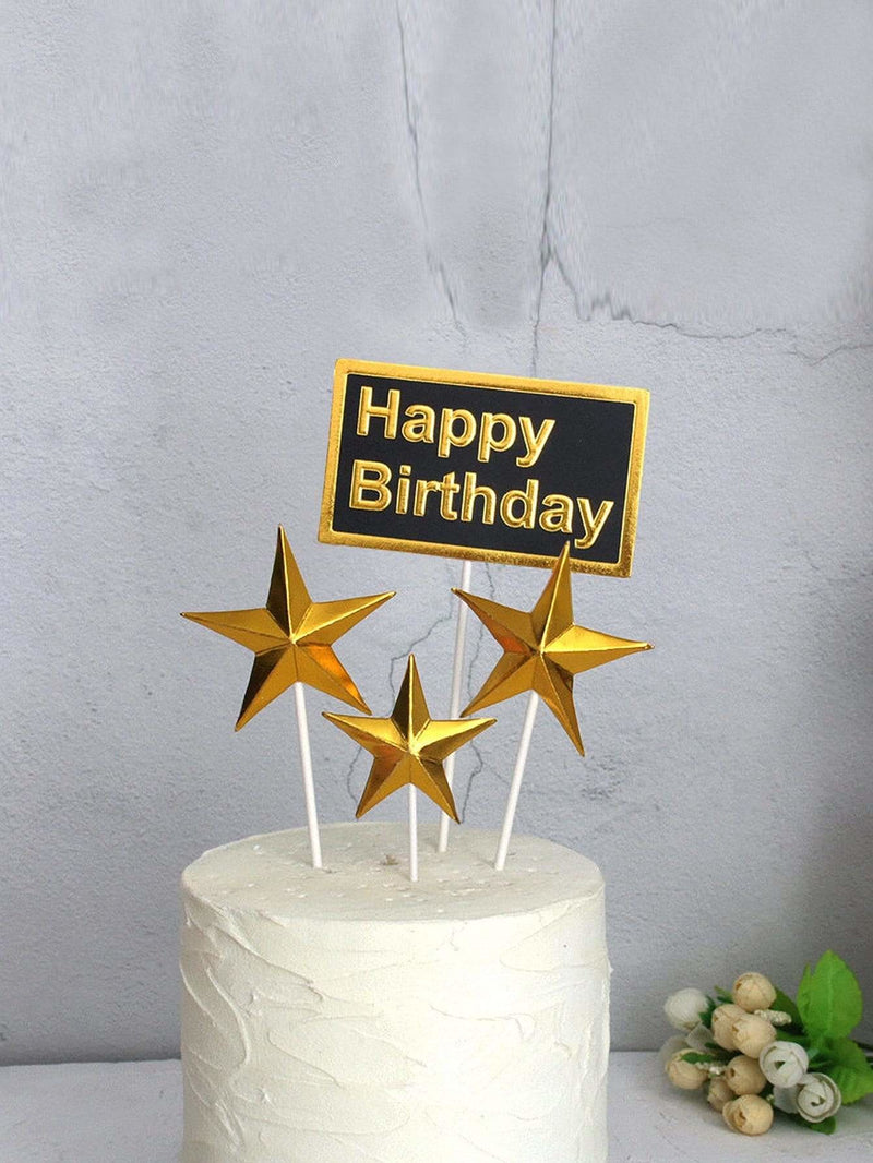 Star & Slogan Print Cake Topper Decoration 4pcs - Holiday Decors