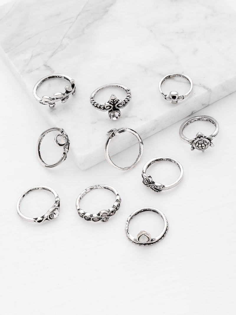 Starfish And Tortoise Design Ring Set 10Pcs - Rings