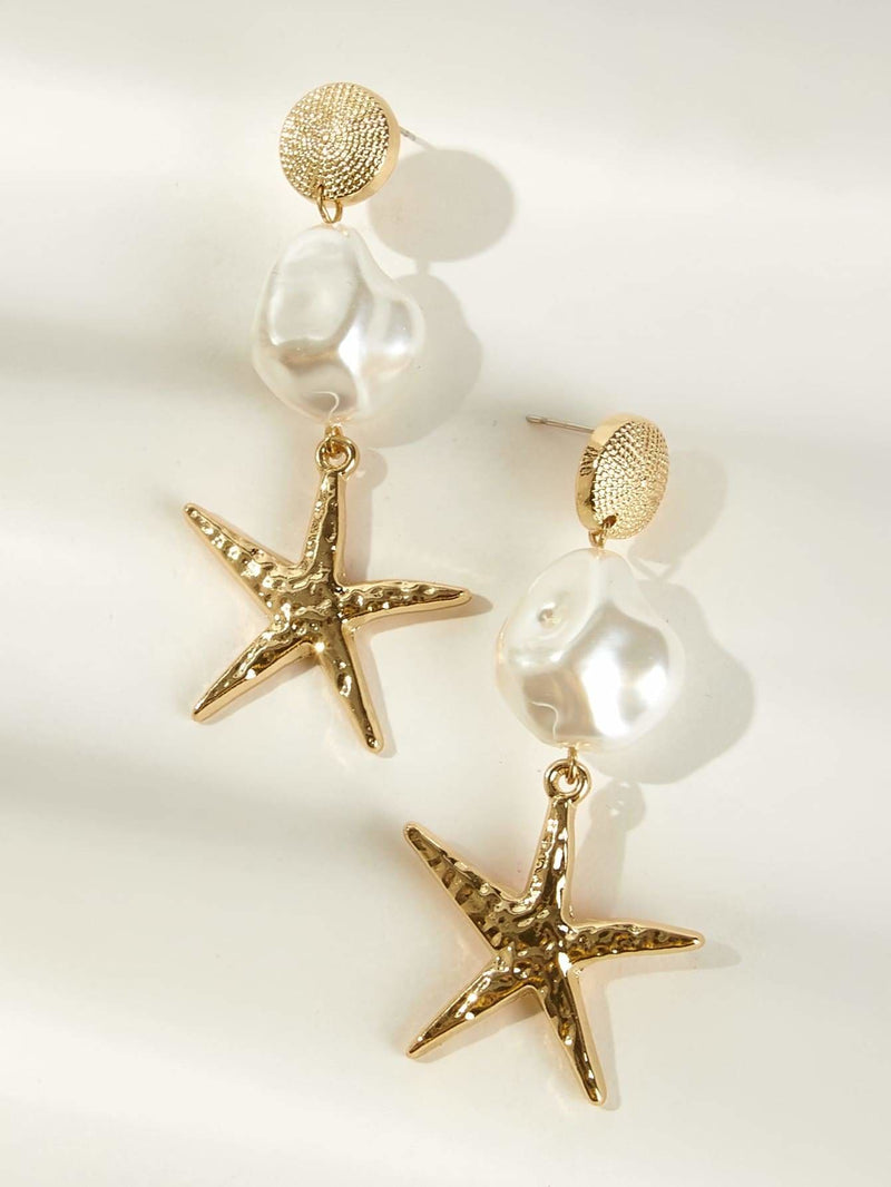 Starfish Charm Drop Earrings 1pair - Earrings
