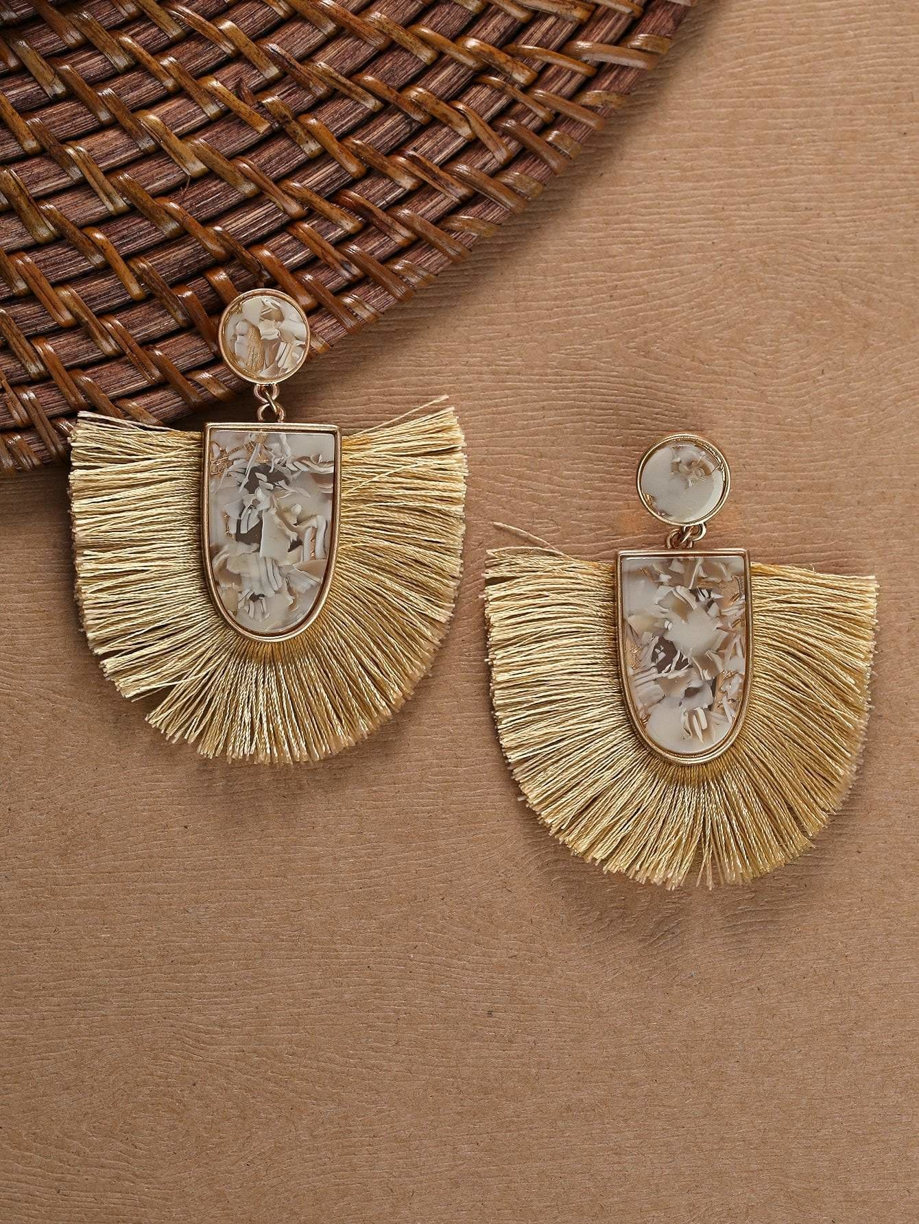 Stone Detail With Fringe Accent Drop Earrings - Earrings