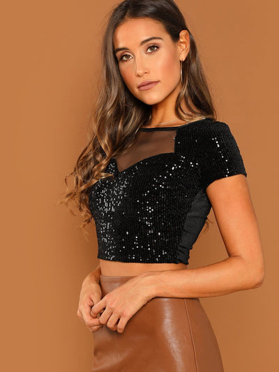 Straight Neck Sheer Mesh Yoke Sequined Crop Top - Crop Tops