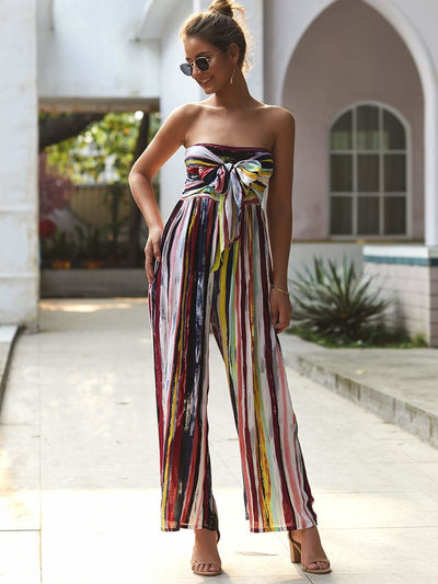 Strapless Rainbow Striped Tie Front Shirred Jumpsuit - Womens Jumpsuits