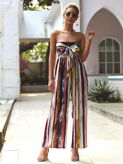 Strapless Rainbow Striped Tie Front Shirred Jumpsuit - S - Womens Jumpsuits