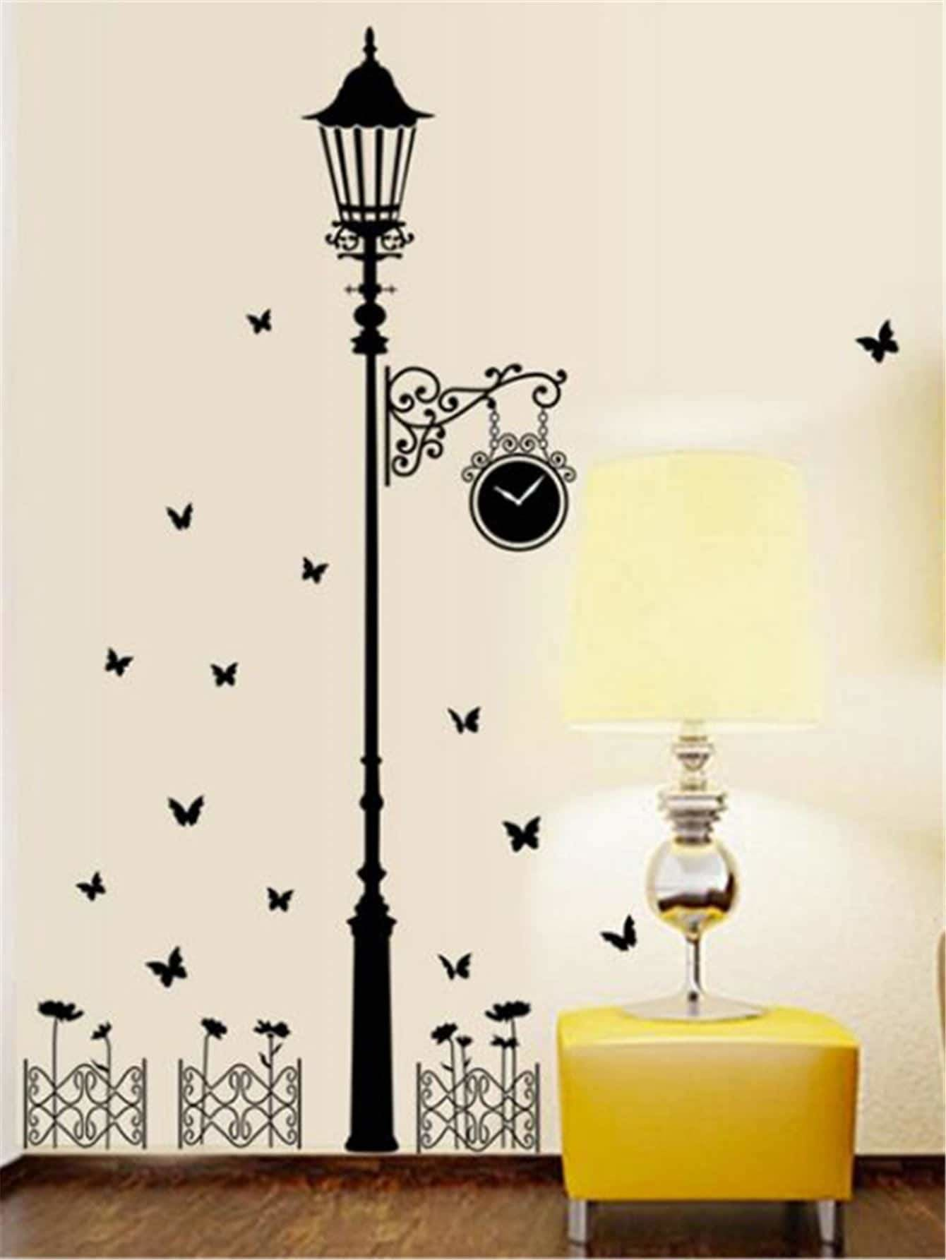 Street Lamp & Butterfly Print Wall Sticker - Wall Art