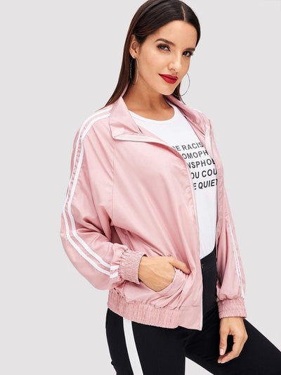 Stripe Contrast High Neck Jacket - Gym Tops