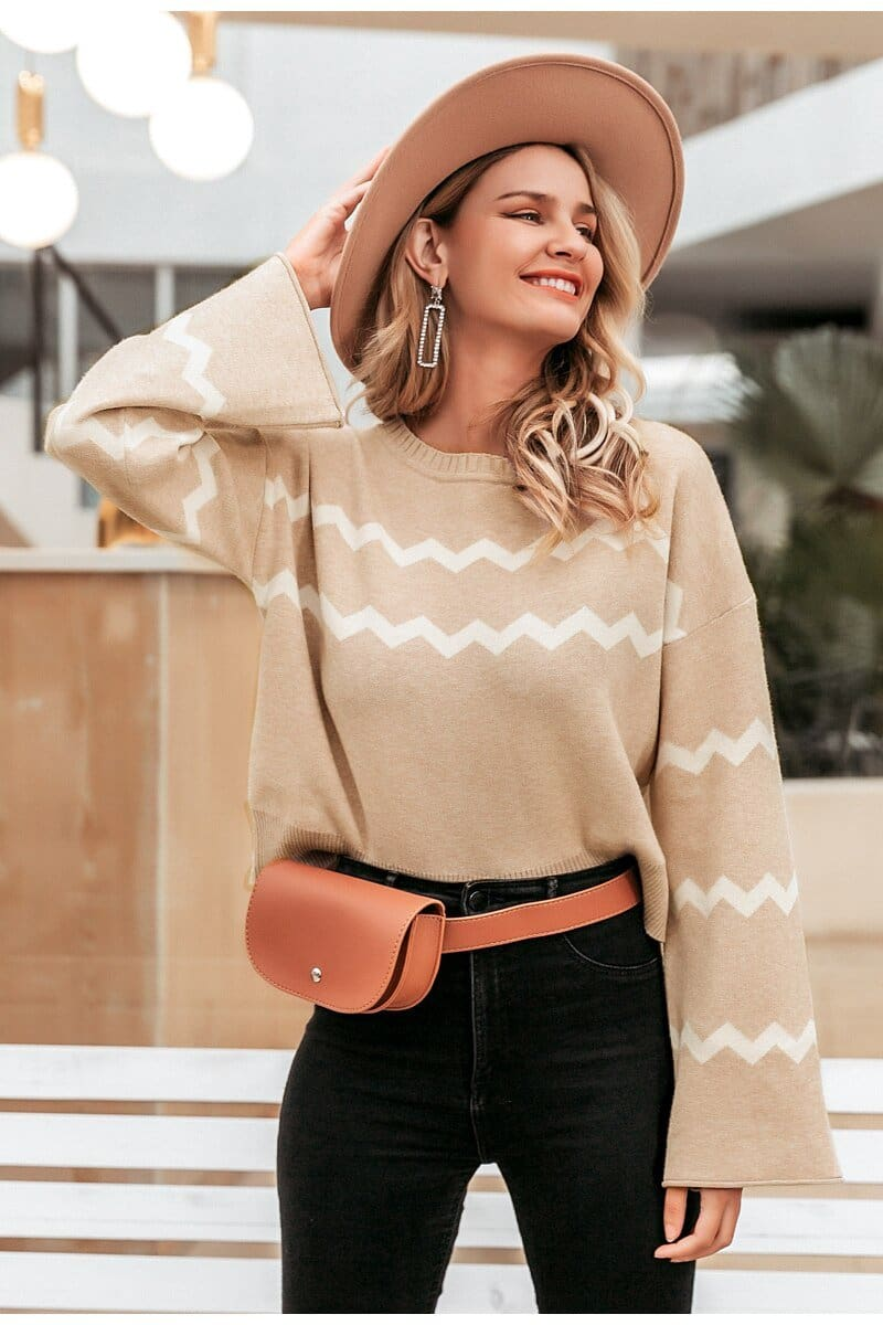 Stripe Print O-neck Flare Sleeve Sweater