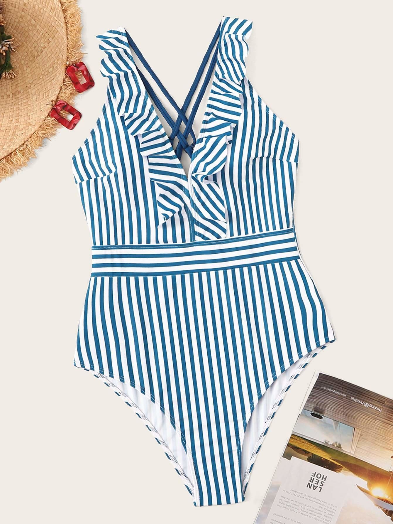 Striped Criss-cross Ruffle One Piece Swimsuit - S - One Piece Swimwear