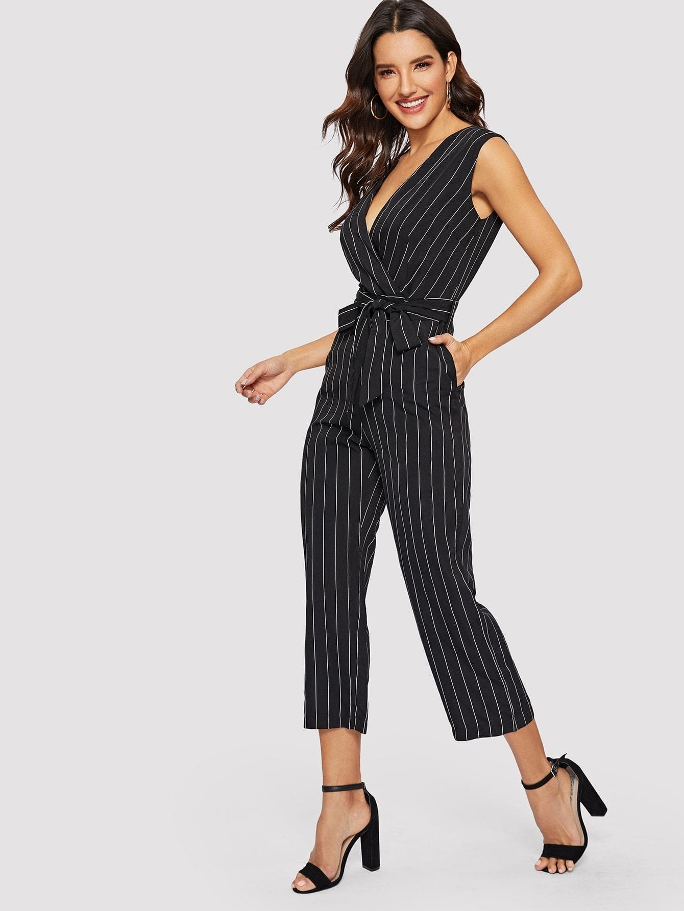 acfee056769 Striped Deep V Neck Belted Jumpsuit - S - Womens Jumpsuits
