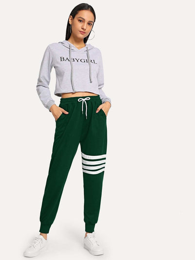 Striped Drawstring Waist Pants - Fittness Leggings