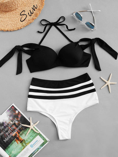 Striped Halter Bikini Set - High Waist Swimwear