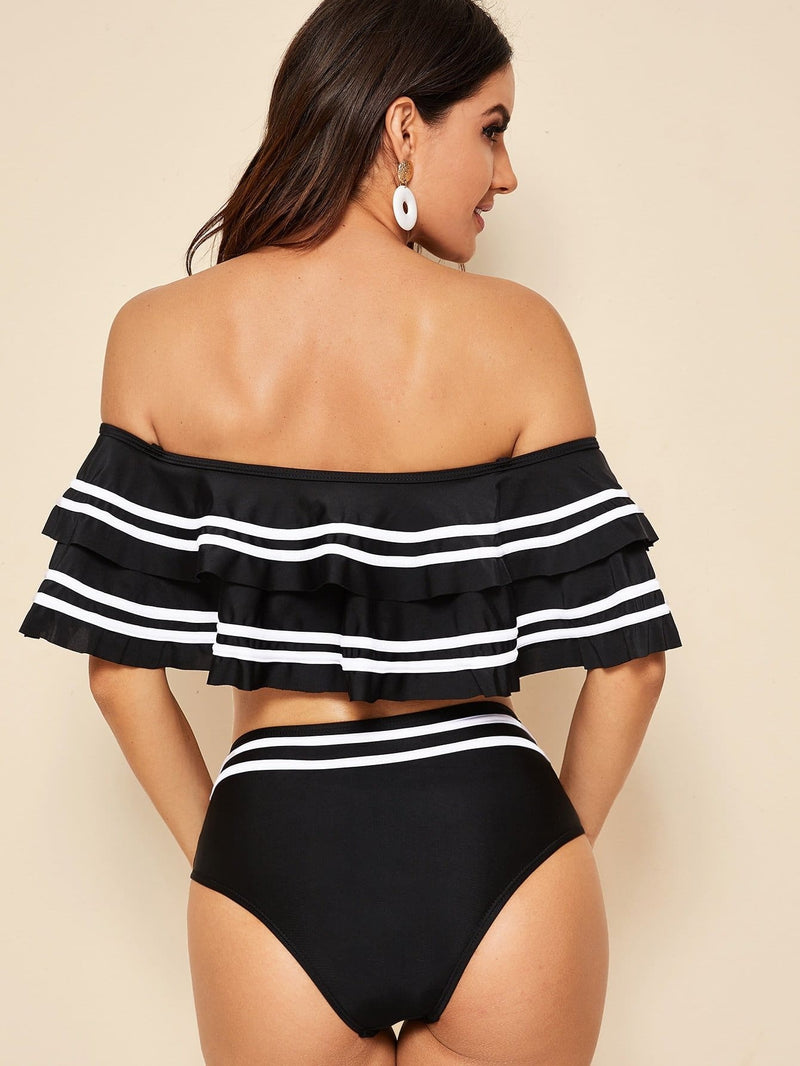 Striped Hem Tiered Layer Bikini Set - S - High Waist Swimwear