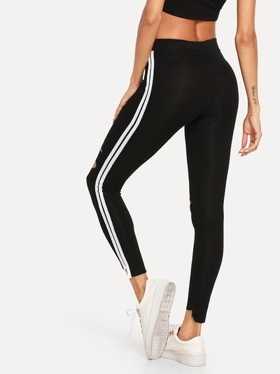 Striped Side Ripped Leggings - Fittness Leggings