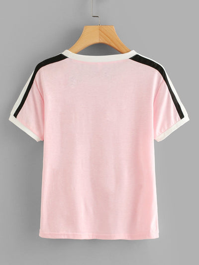 Striped Sleeve Tee - Shirts