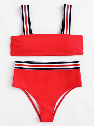 Striped Straps High Leg Bikini Set - High Waist Swimwear