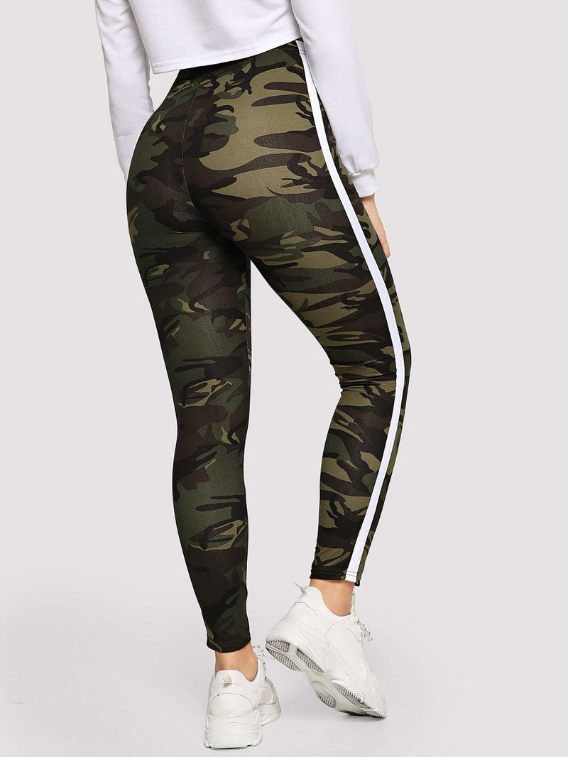 Striped Tape Side Camo Leggings - Fittness Leggings