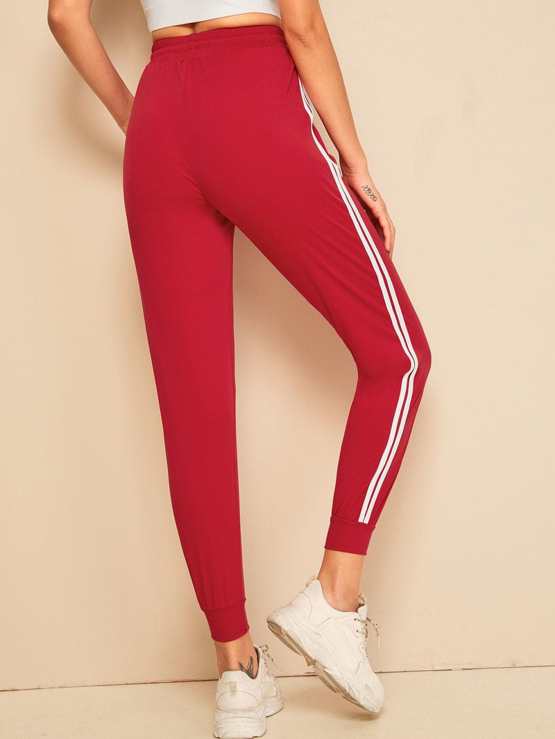 Striped Tape Side Drawstring Waist Sweatpants - S - Fittness Leggings