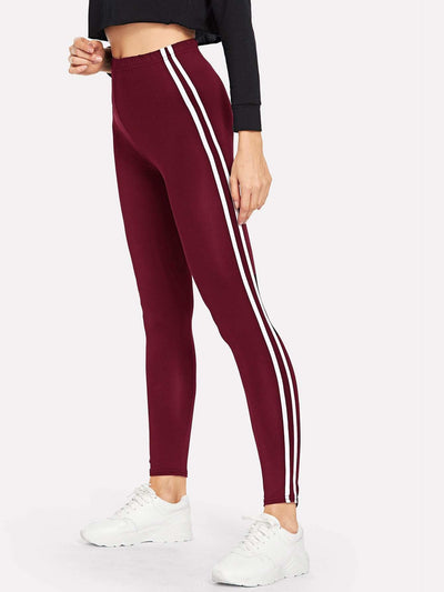Striped Tape Side Elastic Waist Leggings - Fittness Leggings