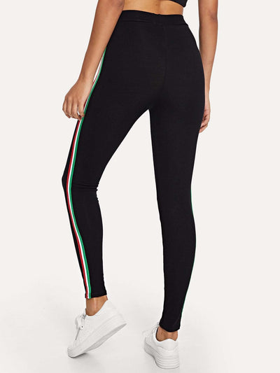 Striped Tape Side Leggings - Fittness Leggings