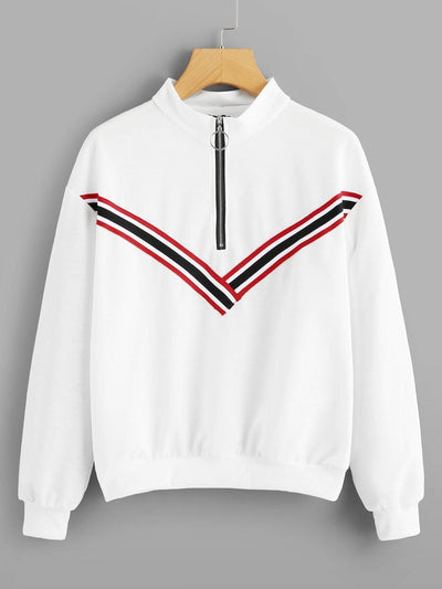Striped Tape Zip Up Sweatshirt - Gym Tops
