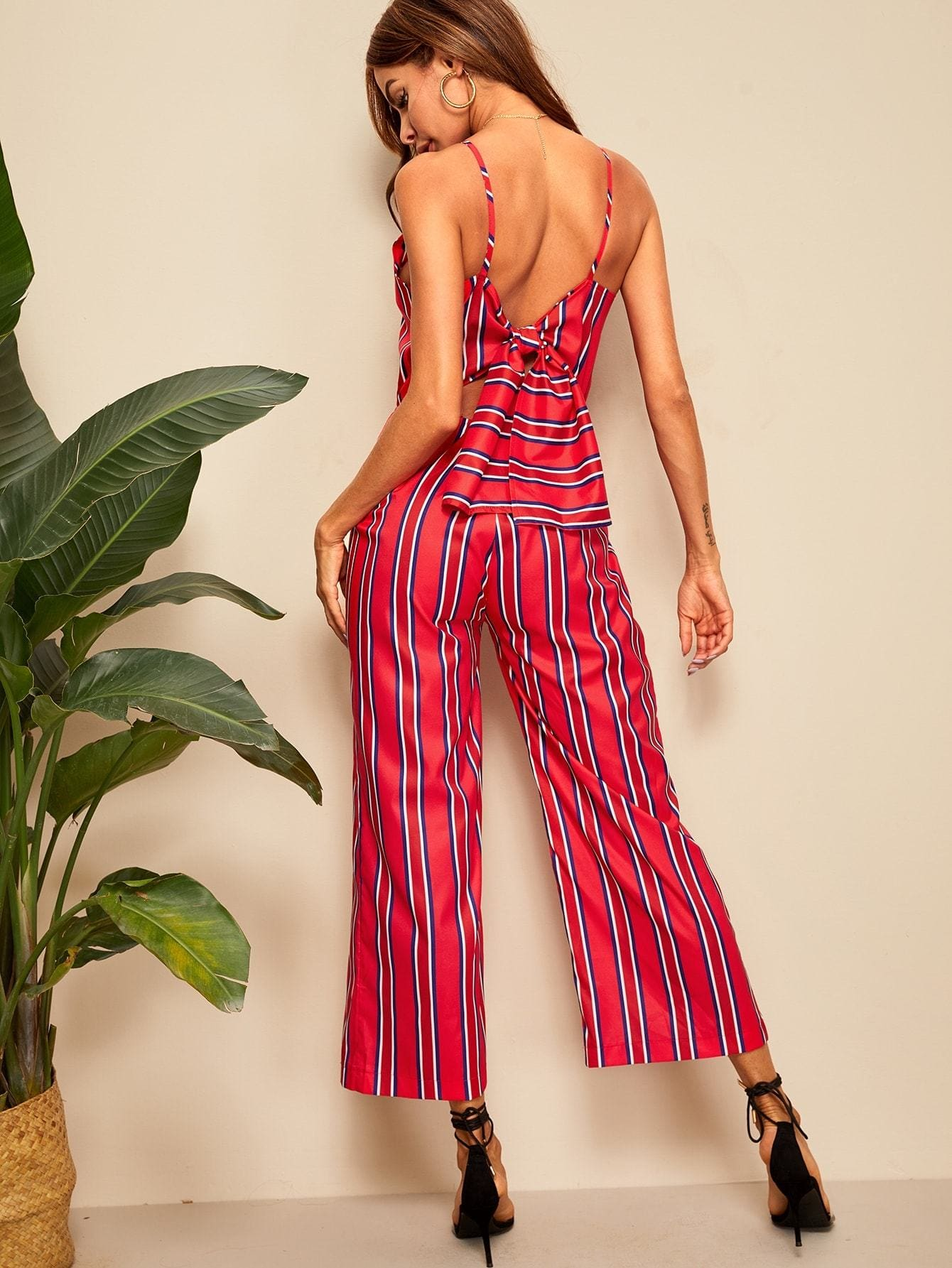 Striped Tie Back Cami Jumpsuit - S - Womens Jumpsuits