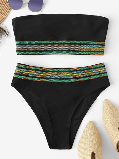 Striped Trim Bikini Set - High Waist Swimwear