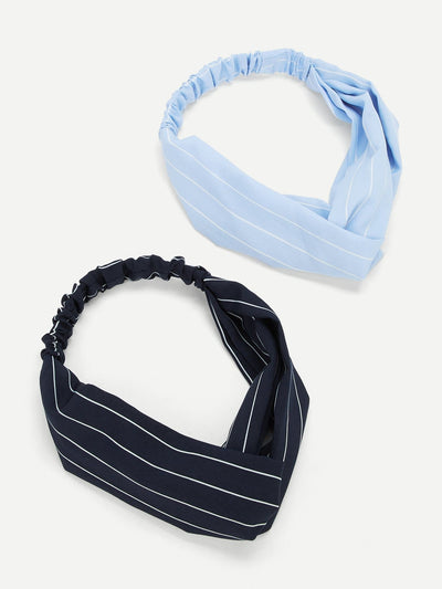 Striped Twist Headband 2Pcs - Hair Accessories