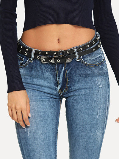 Stud & Eyelet Decorated Belt - Belts