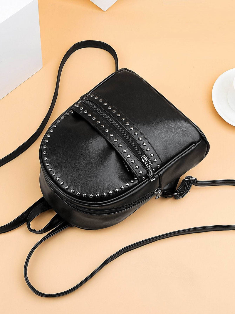Studded Decor Pocket Front Backpack - Womens Bag