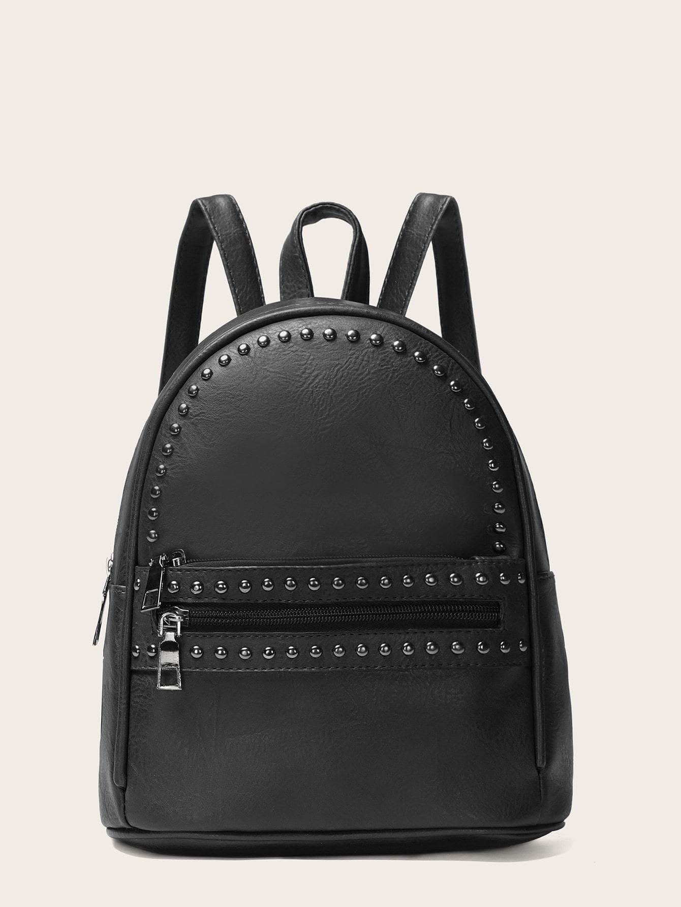 Studded Decor Pocket Front Backpack