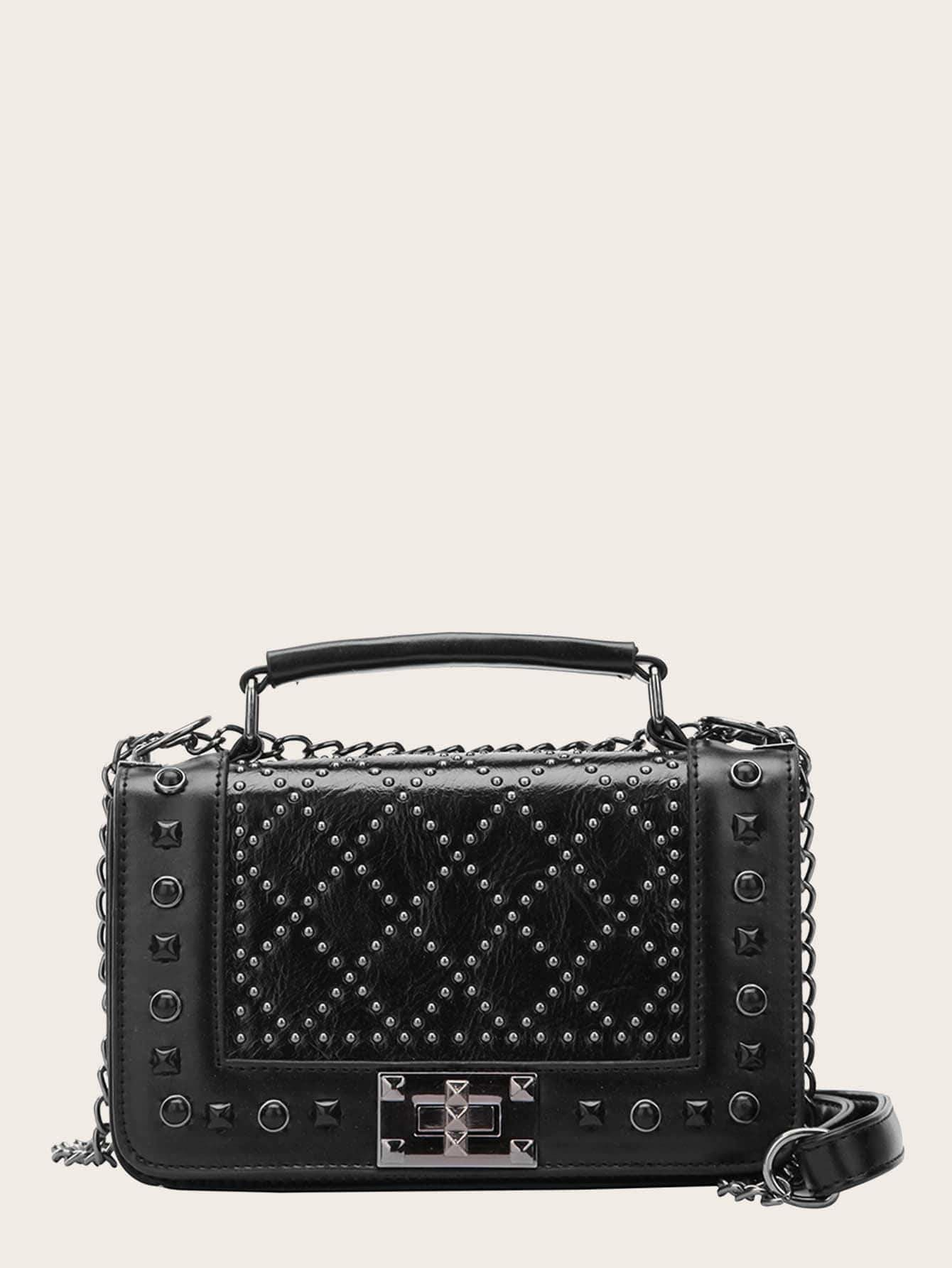 Studded Decor Satchel Chain Bag