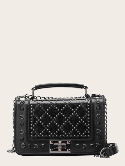 Studded Decor Satchel Chain Bag - Womens Bag