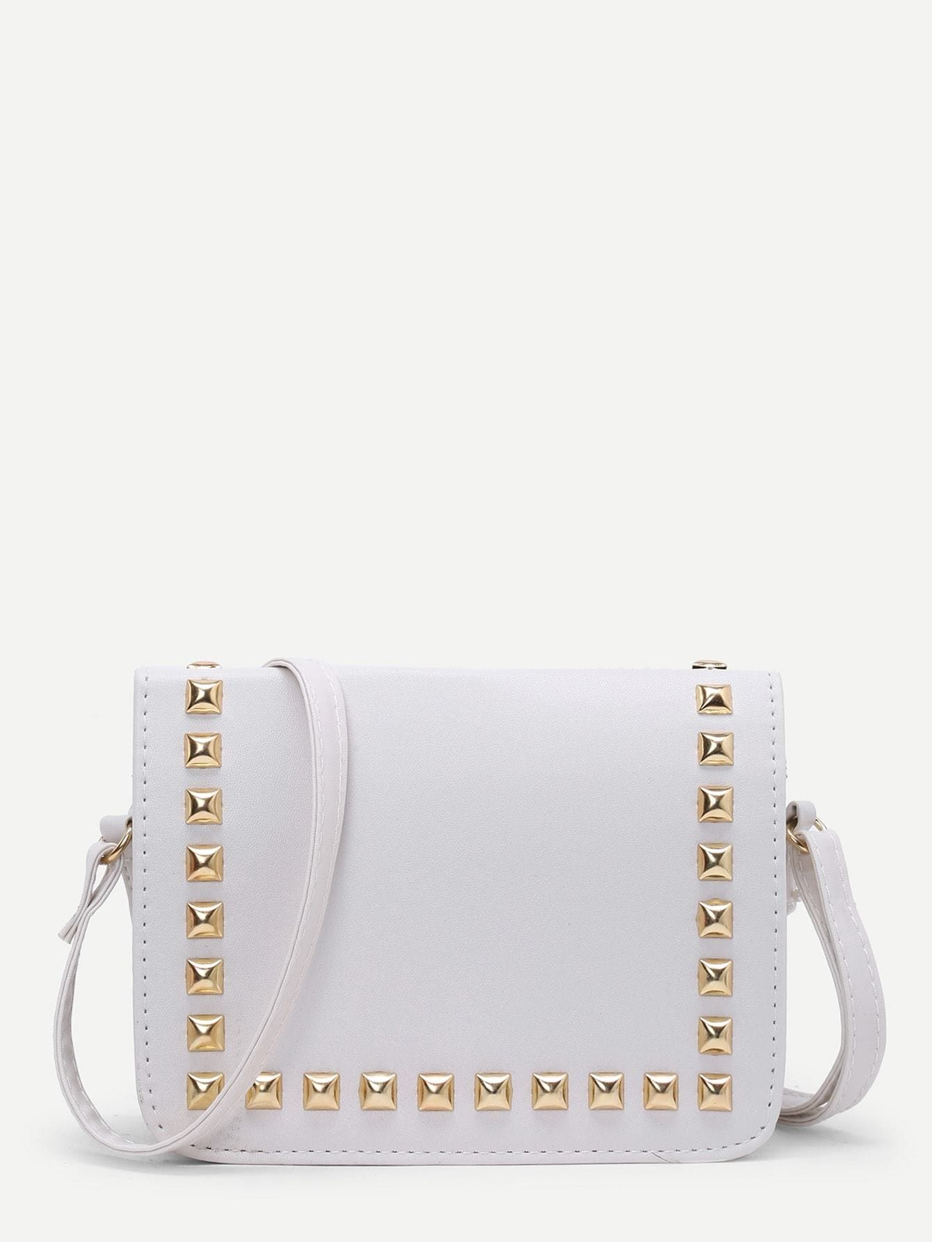 Studded PU Flap Bag - Womens Bag