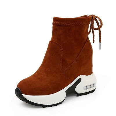 Suede Ankle Platform Sneakers - Brown / 5 - Womens Sneakers