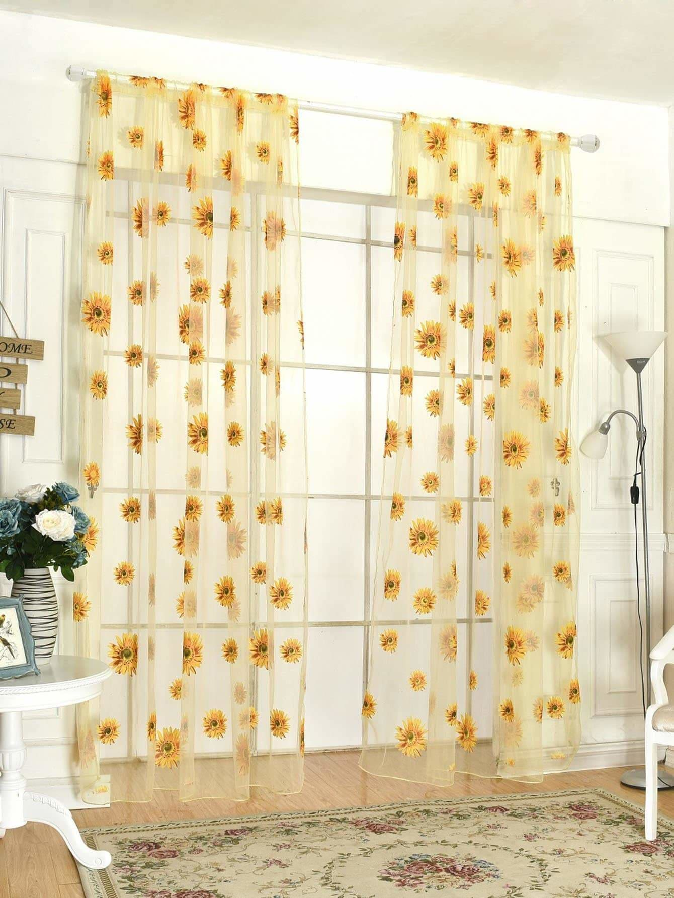 Sunflower Print Rod Pocket Sheer Curtain 1pc