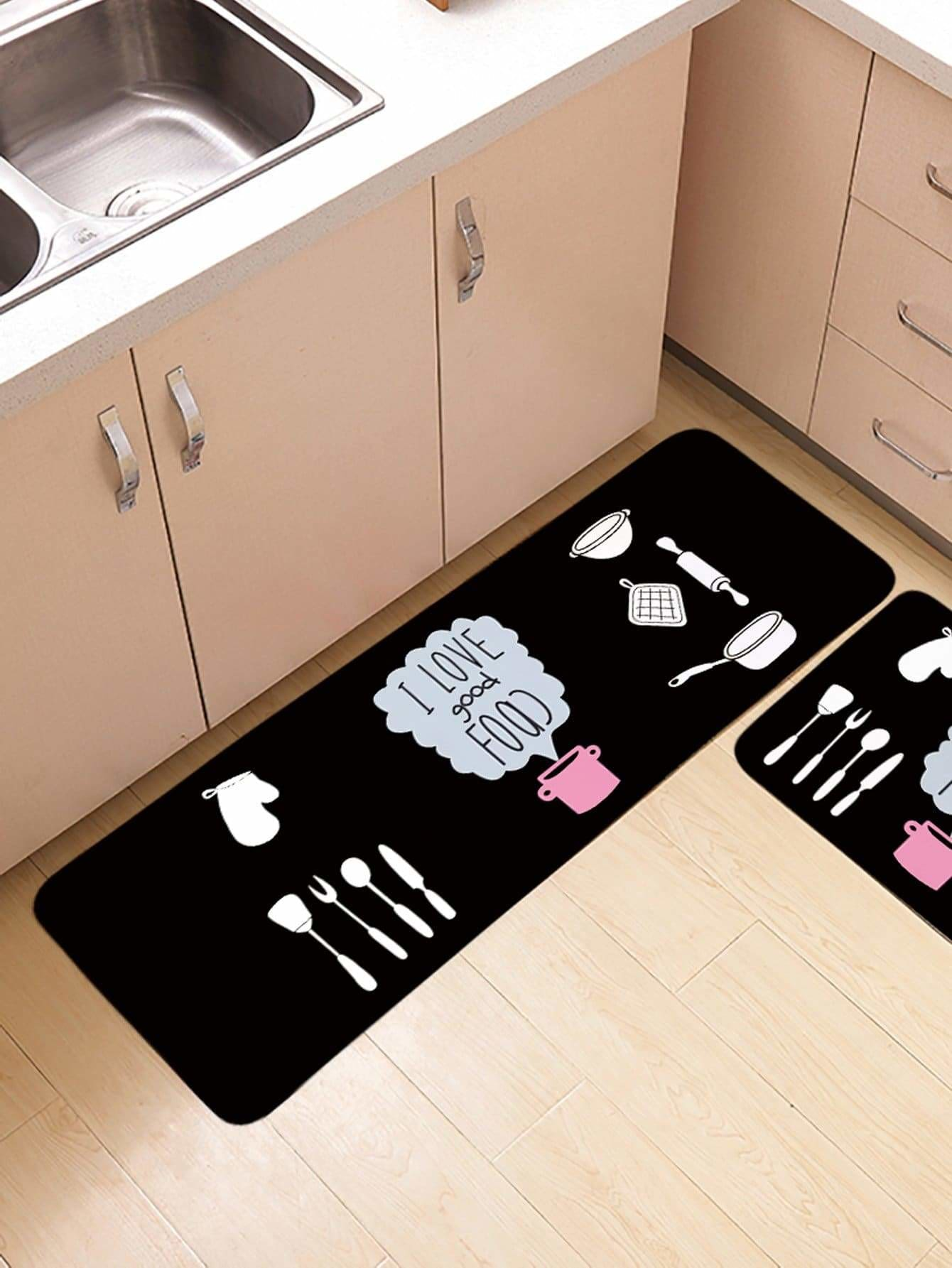 Tableware Print Floor Mat - One-Size / Multicolor - Rugs & Mats
