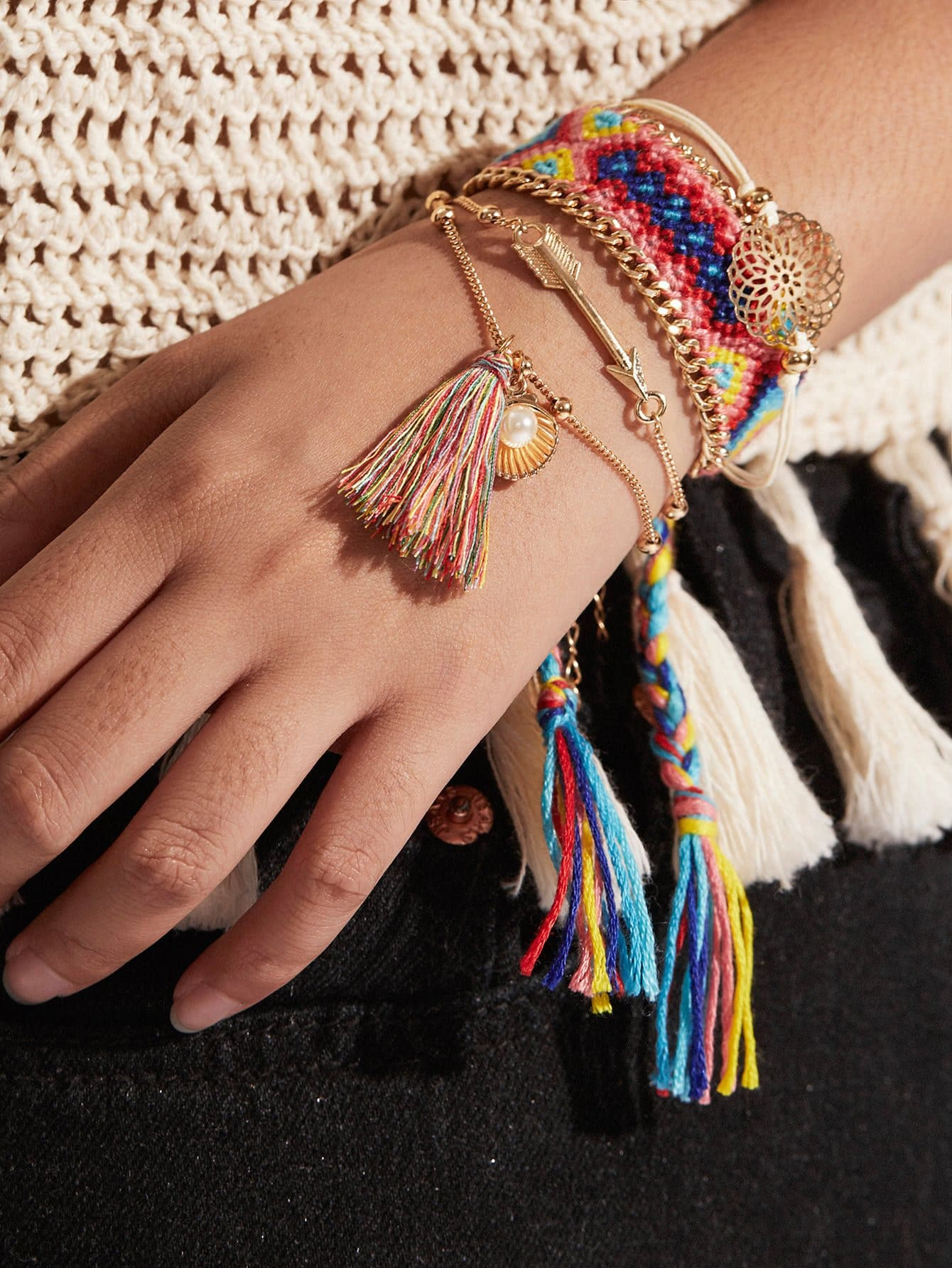 Tassel & Arrow Charm Detail Festival Bracelet Set