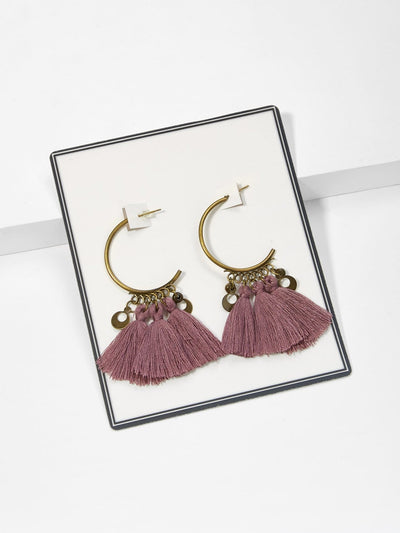 Tassel Decorated Drop Earrings - Earrings