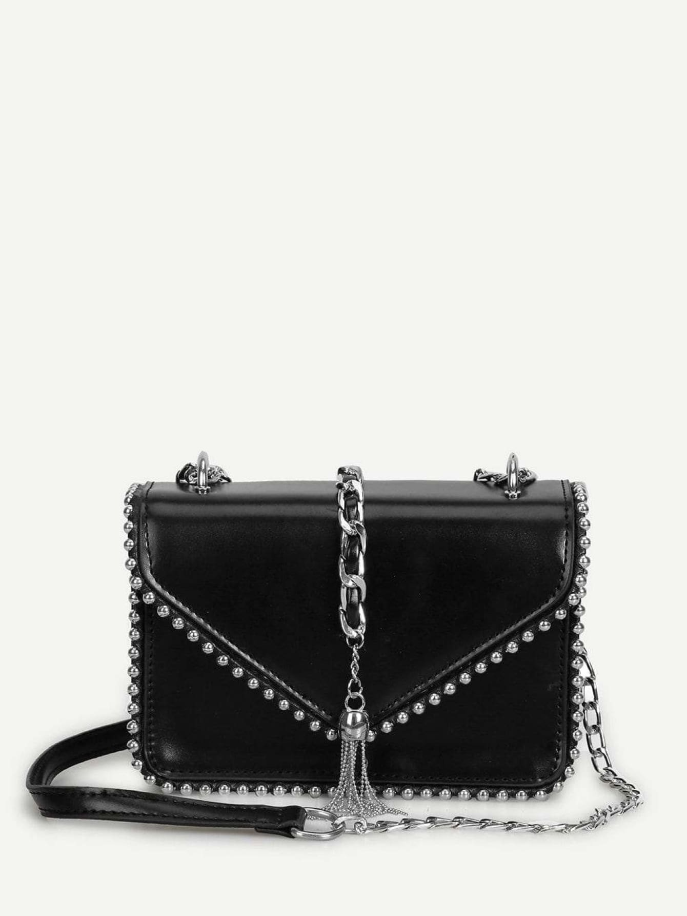 Tassel Detail Beaded Chain Bag