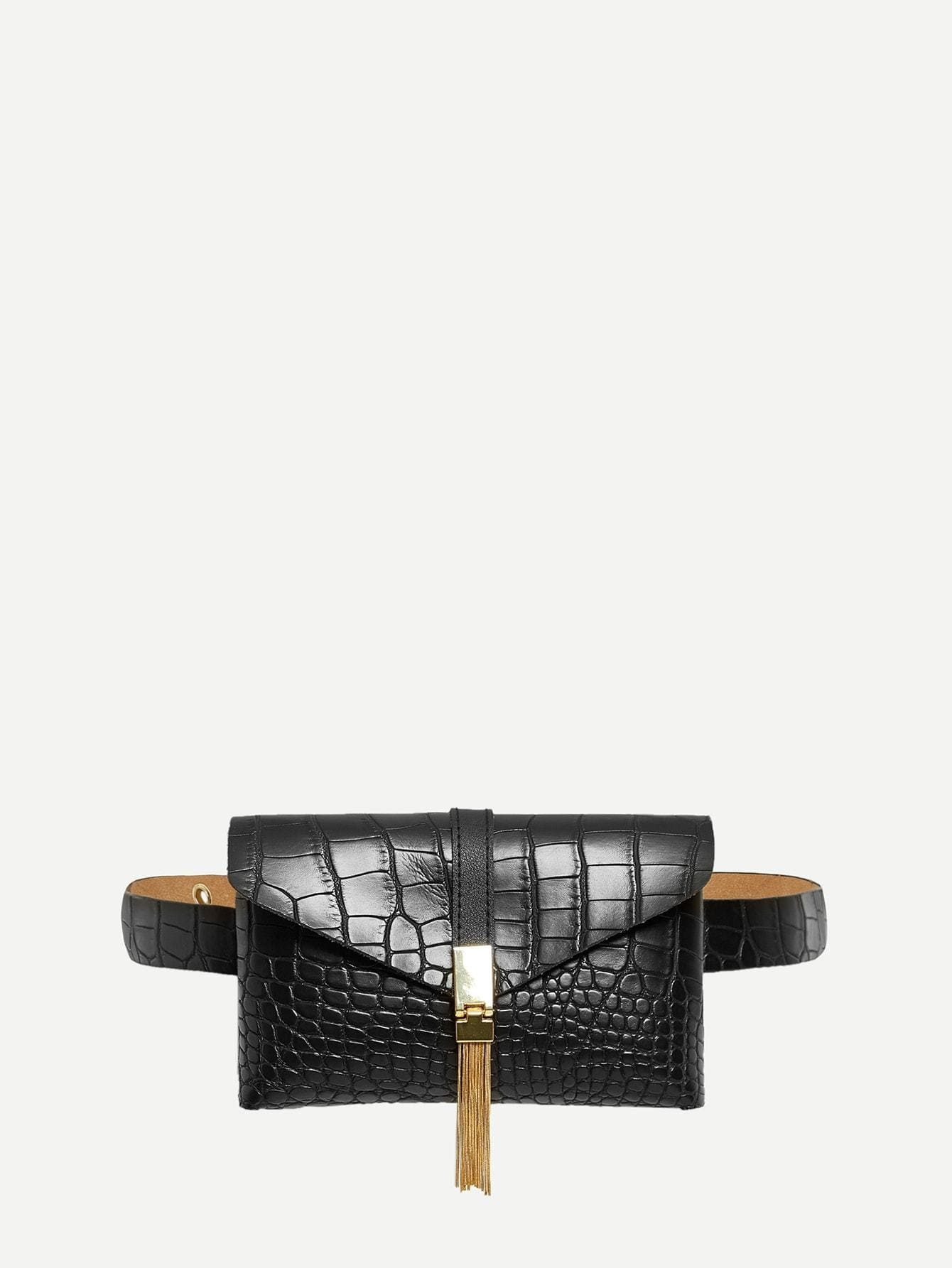 Tassel Detail Crocodile Pattern Bum Bag - Womens Bag