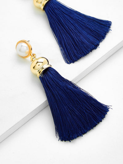 Tassel Drop Earrings With Faux Pearl - Earrings