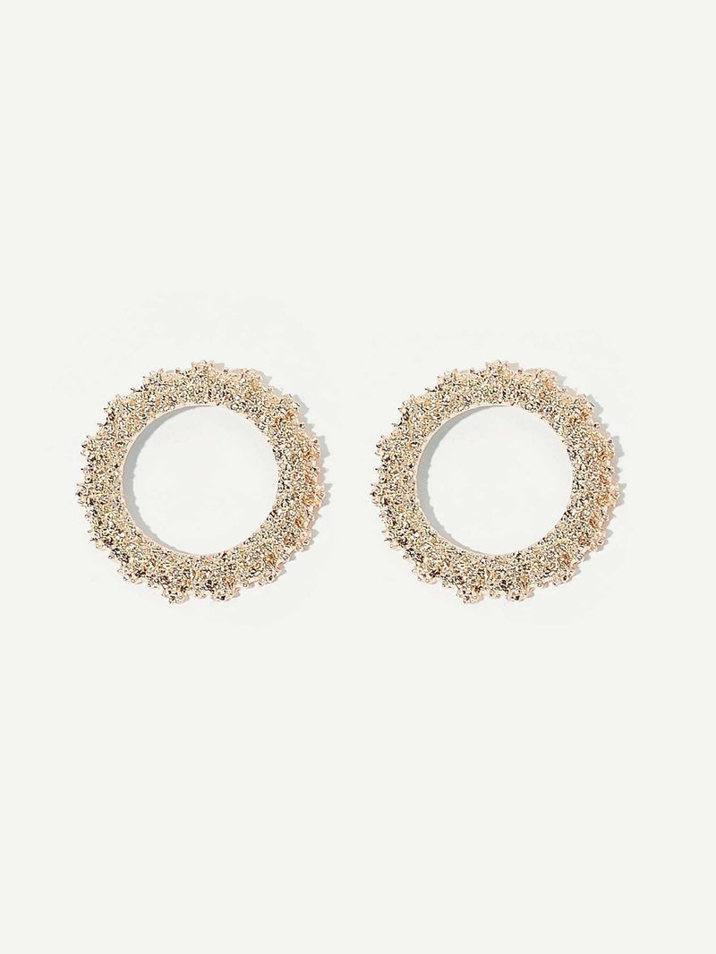 Textured Hoop Earrings 1pair - Gold - Earrings