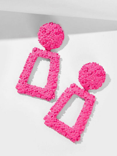 Textured Open Geometric Drop Earrings - Earrings