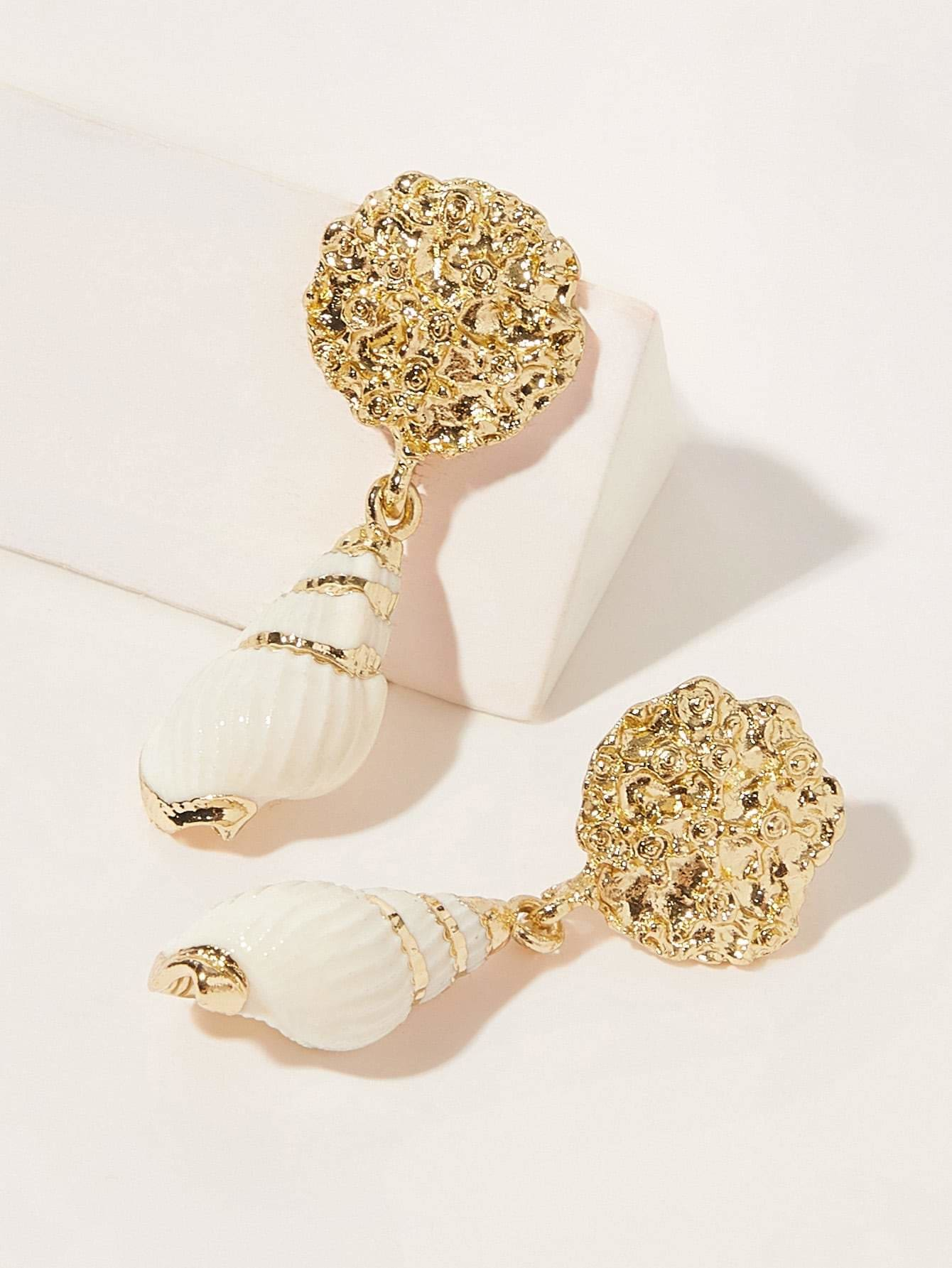 Textured Shell Decor Drop Earring 1pair