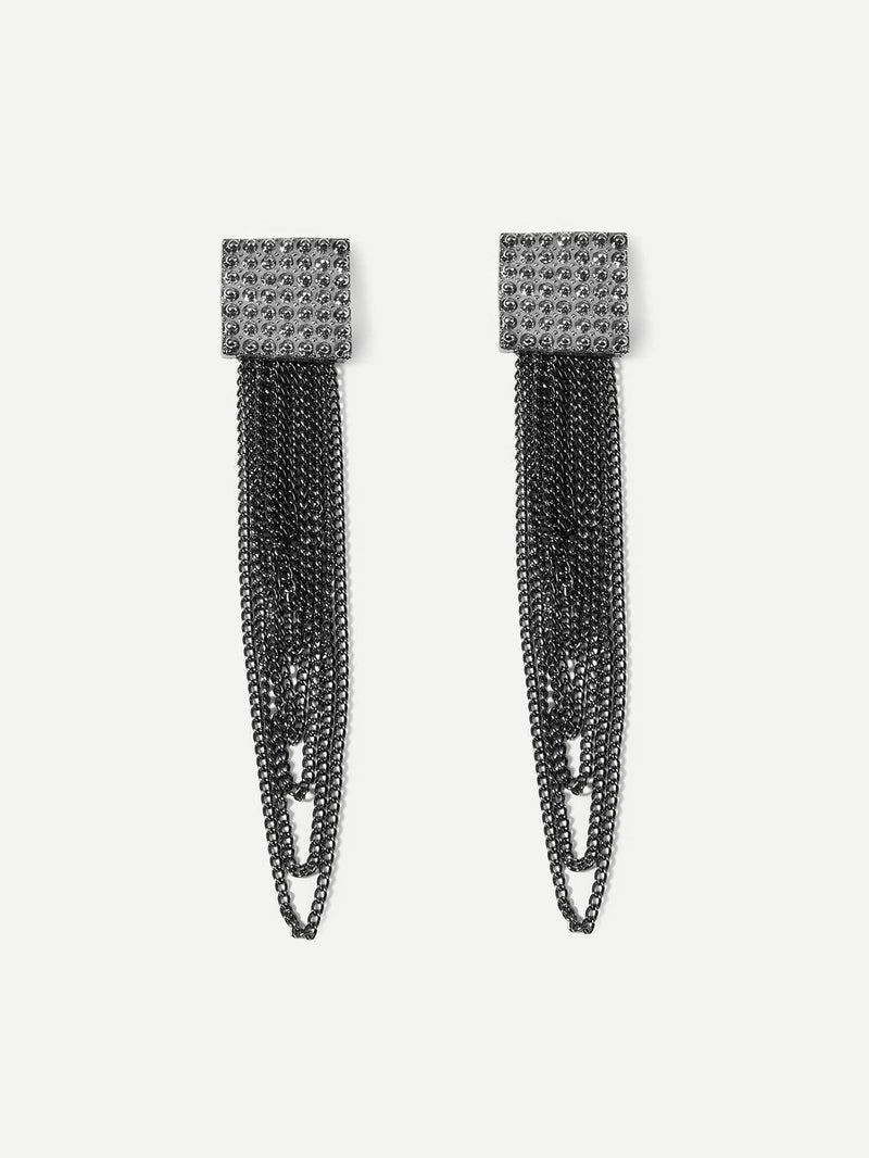 Textured Square Layered Chain Drop Earrings - Earrings