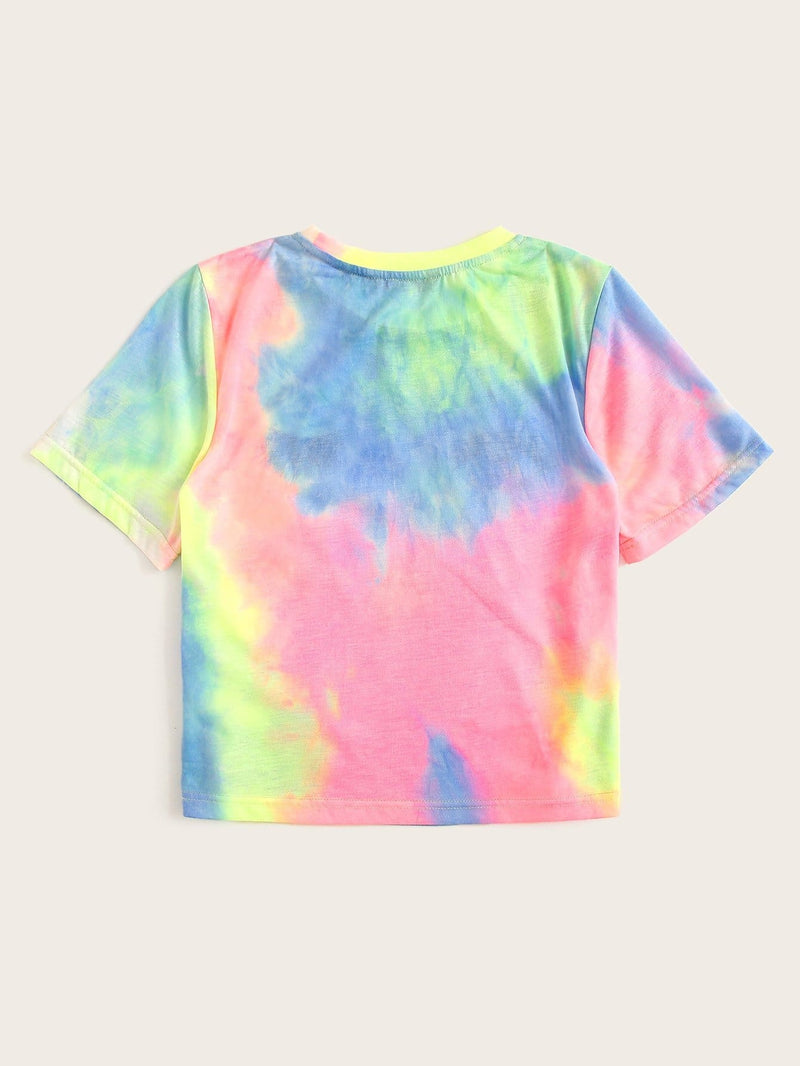 Tie Dye Eye and Eyelash Print Tee - XS - Shirts