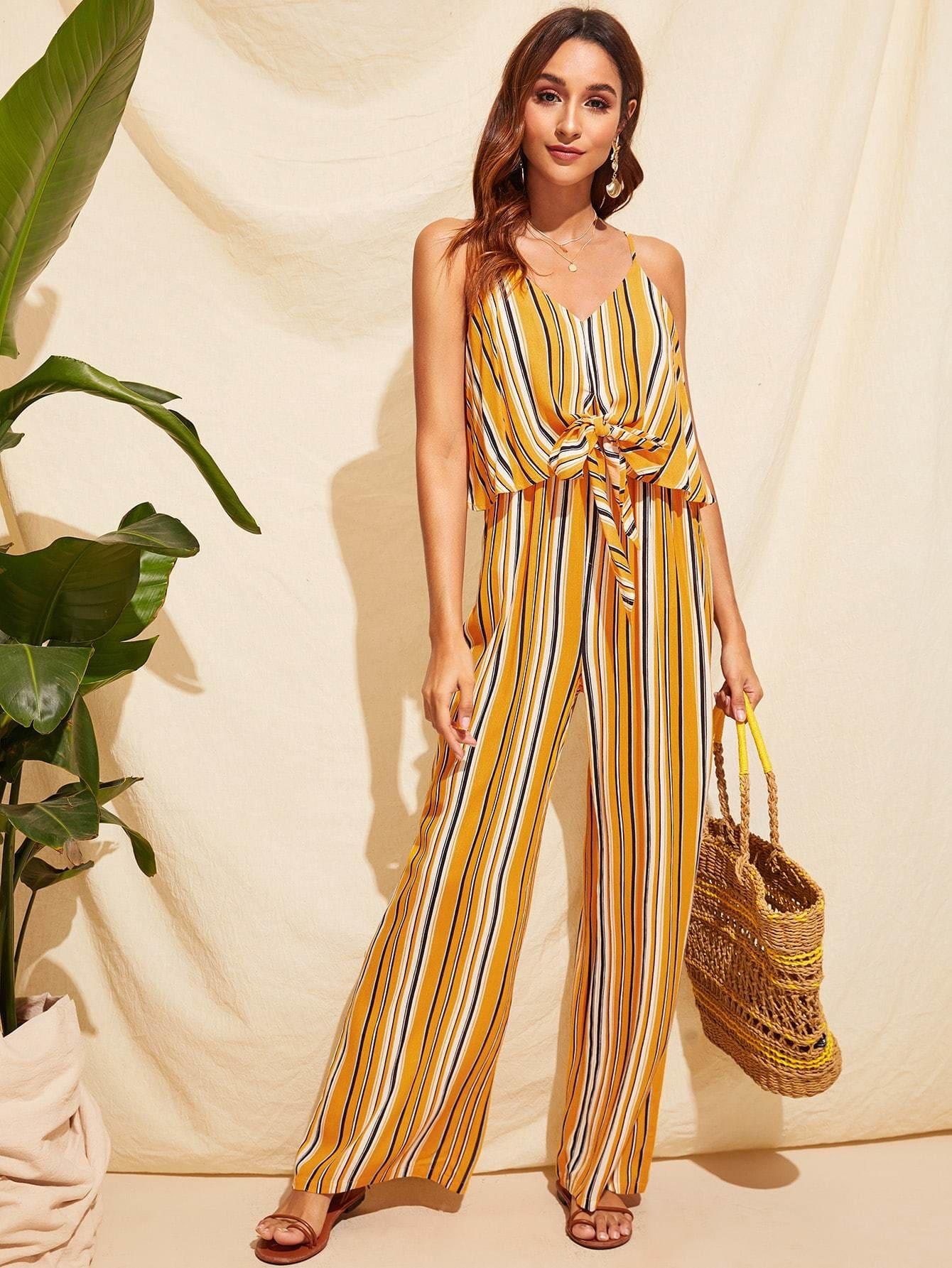 Tie Front Two Layer Striped Palazzo Cami Jumpsuit - XS - Womens Jumpsuits