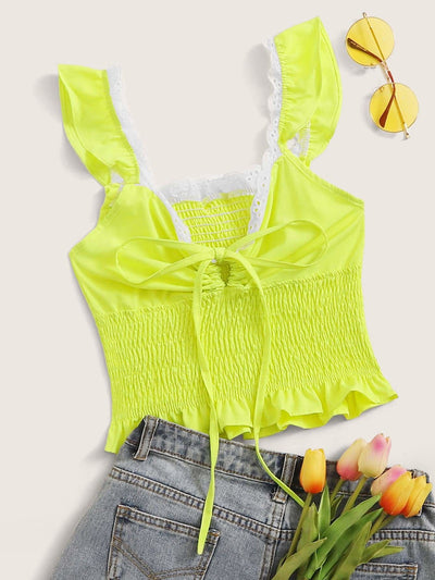 Tie Neck Shirred Cami Top - S / Green bright - Crop Tops