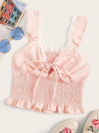 Tie Neck Shirred Cami Top - S / Pink - Crop Tops